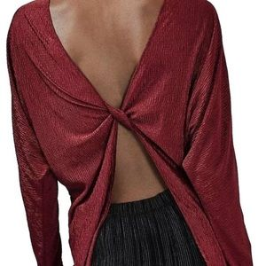 Topshop metallic open back twist blouse